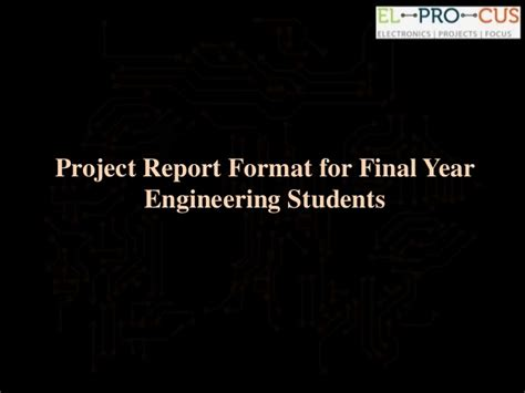 sle project report for engineering students project report format for year engineering students