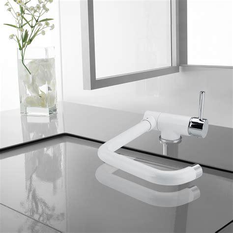 mitigeur d 233 vier robinet de cuisine blanc chrome pliable