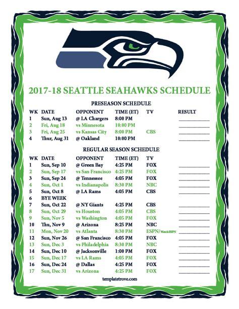 Monday Football Schedule 2018 Printable