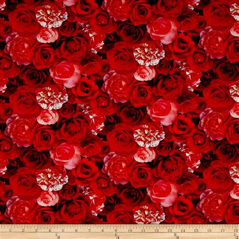 printable fabric rose garden digital print packed roses red discount