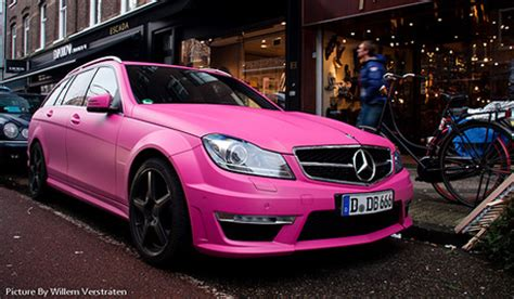 overkill: pink mercedes c63 amg estate gtspirit