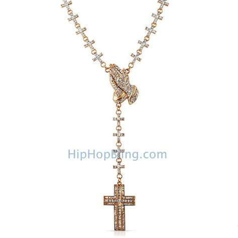 Iced Out Cross Links Rose Praying Hands Rosary Necklace Praying With Rosary And Cross