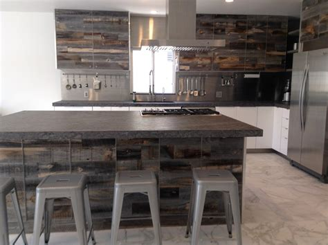 Reclaimed Wood Kitchen Cabinets surprising peel and stick wallpaper decorating ideas