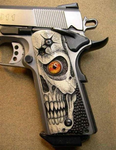 Handmade Gun Grips - custom 1911 grips skulls car interior design