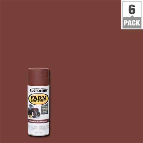 rust oleum 12 oz farm and implement oxide metal primer spray paint 6 pack 280137 the