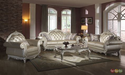 Tufted Living Room Set Metallic Pearl Button Tufted Leather Formal Living Room Sofa Set