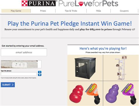 Instant Win Online - purina pet pledge instant win play to win 2 grand prizes giveawayus com