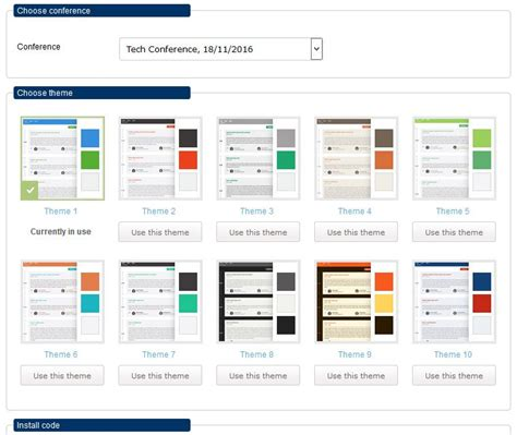 colour themes conf conference agenda software speakers agenda widget features