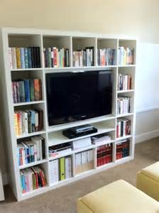 Bookshelves Around Tv Wall Mounting A 40 Quot Tv In Expedit Ikea Hackers Ikea