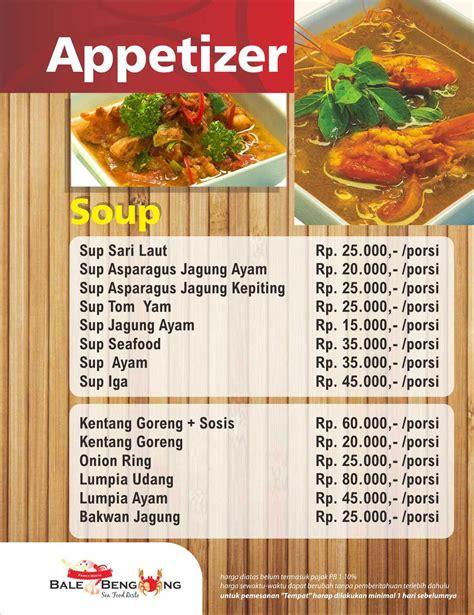 daftar menu jakarta bale bengong resto tempat makan
