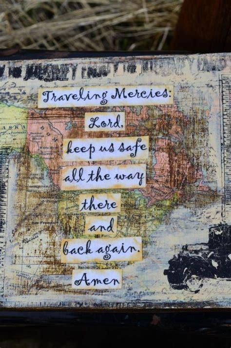 traveling mercies prayer collage on wood 6 5 x 7 inch