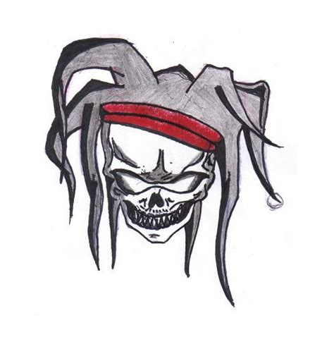 joker hat tattoo skull jester by ninjaleftovers on deviantart
