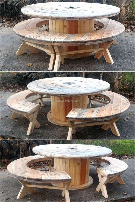 recycled pallet cable reel patio furniture pallet ideas