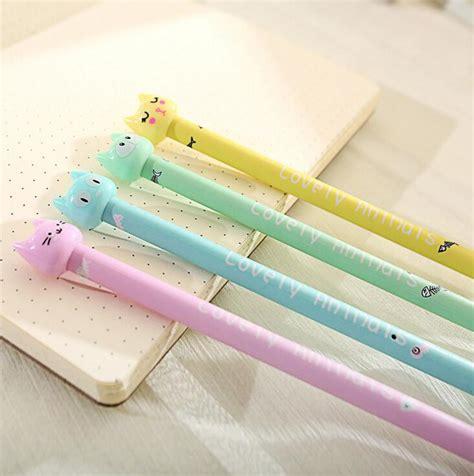 4 Pcs Lovely Cat Gel Pen 0 5mm 4pcs lot 0 5mm lovely fish cat gel ink pen promotional