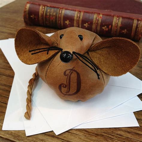 Handmade Paper Weight - handmade leather monogram mouse paperweight by mirjami