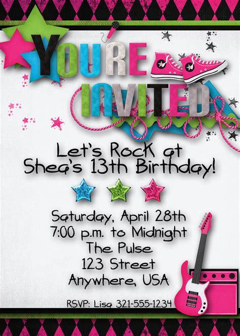 Rock Star  Ee  Birthday Ee   Party Invitation Teen Hip Hop