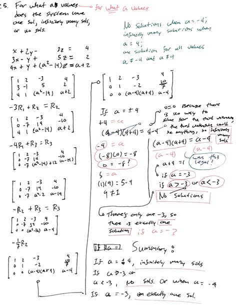 problem solving linear algebra determine the values of