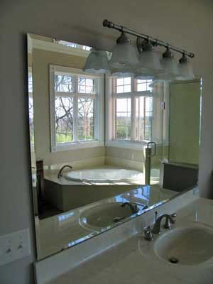 beveled bathroom mirror bear hill interiors chic bathroom