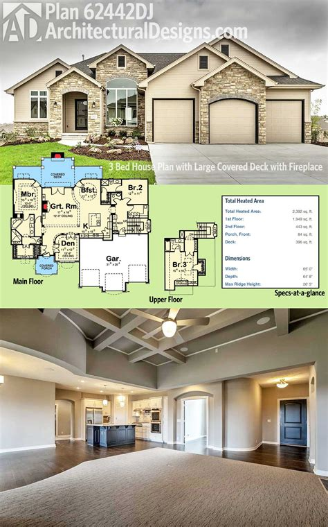 should i buy a 2 bedroom house plan 62442dj 3 bed house plan with large covered deck