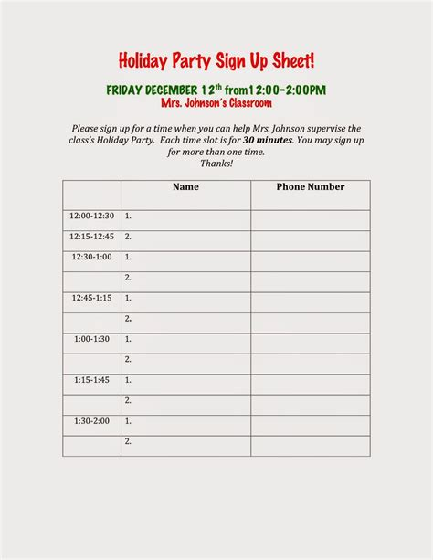 holiday party sign up sheet images