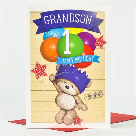 Birthday Card For Grandson 1st Birthday Hugs 1st Birthday Card Grandson Balloons Only 163 1 49