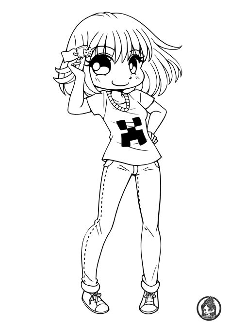 chibi minecraft coloring pages chibis free chibi coloring pages yampuff s stuff