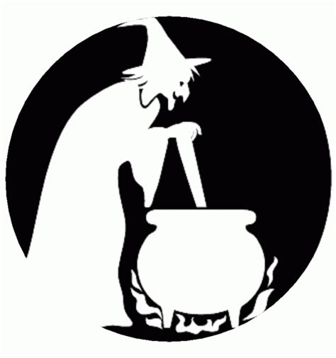 witch pumpkin template stencil witch cauldron