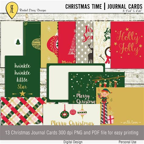 printable christmas journal christmas time journal cards instant download