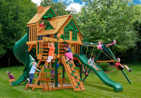 swing sets made in usa great skye i treehouse swing set w wood roof made in u s