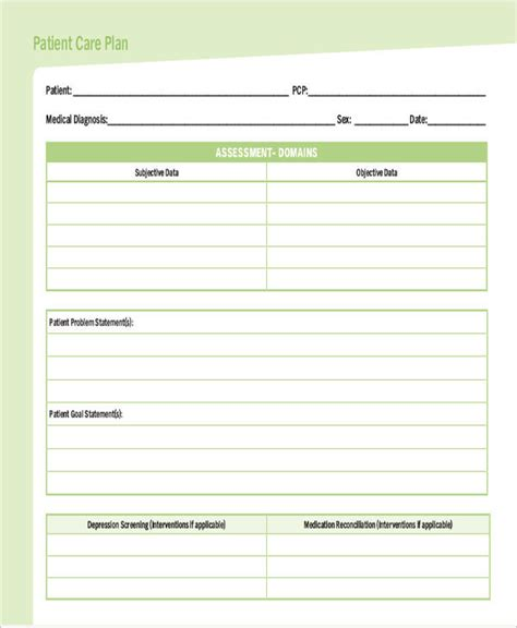 nursing care plan template word care plan template goal setting and plan template