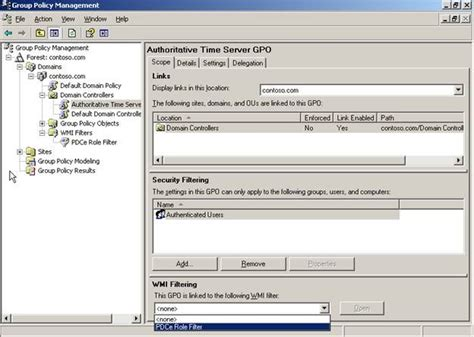 configuring  authoritative time server  group policy