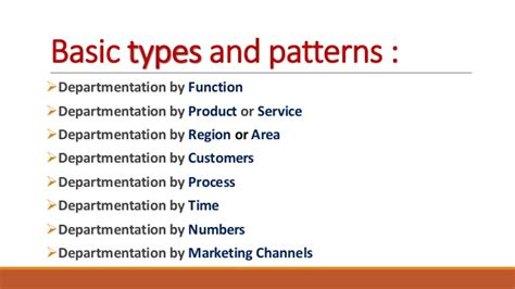 pattern maintenance definition departmentation