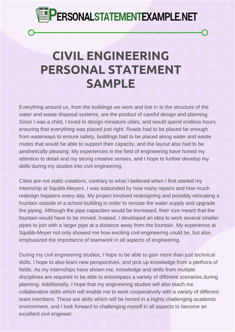 civil engineering personal statement exle