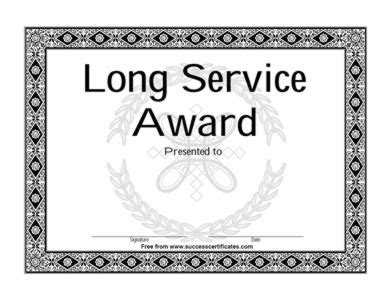 long service certificate template recommendation letter