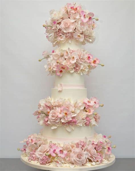 pink sugar flower wedding cake design