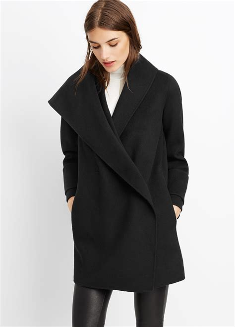 draped coats vince wool drape front coat in black lyst