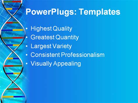 Powerpoint Template 4 Strands Of Dna In Primary Colors On Light Burst And Grid Blue Background Dna Powerpoint Template