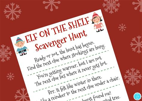 printable elf on the shelf scavenger hunt printable elf on the shelf scavenger hunt mom on the side