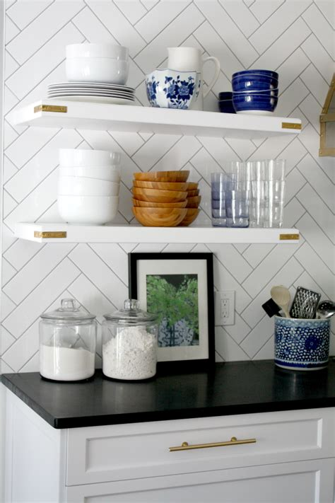 what to put on open kitchen shelves emily a clark