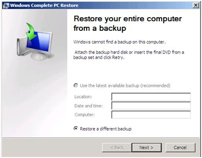 microsoft technology: bare metal recovery of windows 2008