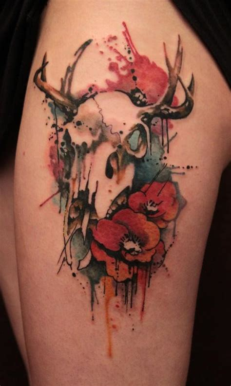 watercolor tattoo skull artistic tattoos by self taught artist gene coffey