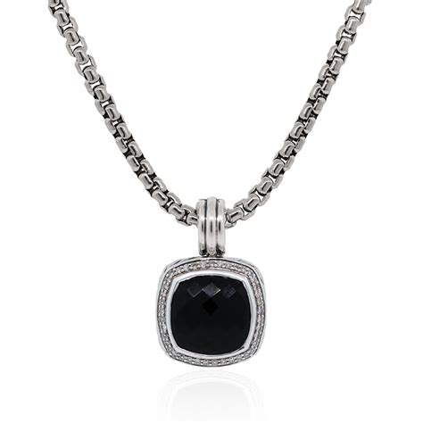 black chain with pendant david yurman black onyx pendant box chain necklace