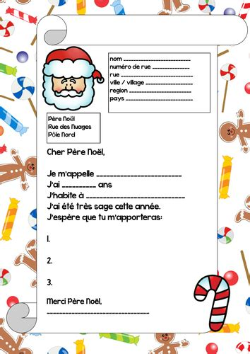 letter to santa template french letter to father christmas in french by betsybelleteach