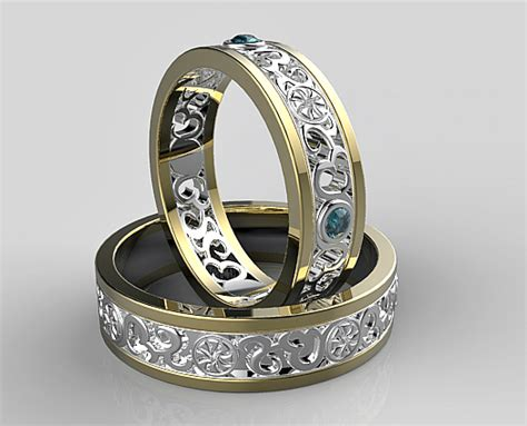 His And Her Two Tone Matching Wedding Band   Vidar Jewelry