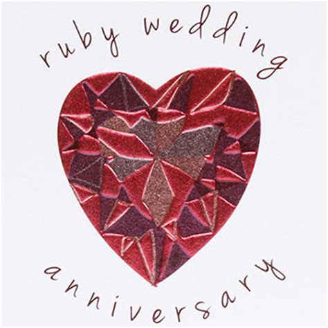 Ruby Wedding Anniversary Card by Ruby 40th Wedding Anniversary Card Karenza Paperie