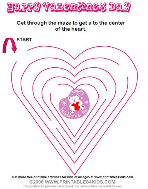 printable valentine s maze valentine maze printables for kids free word search