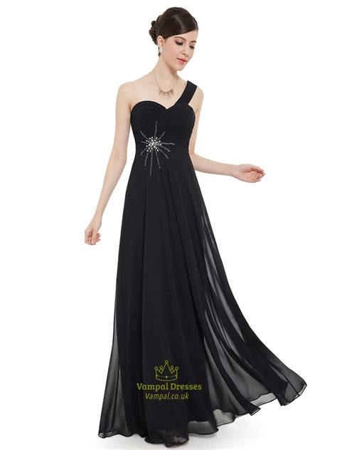 beaded bridesmaids dresses black chiffon one shoulder bridesmaid dress with