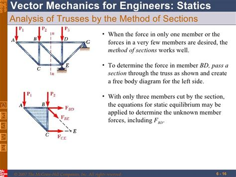 statics method of sections trusses