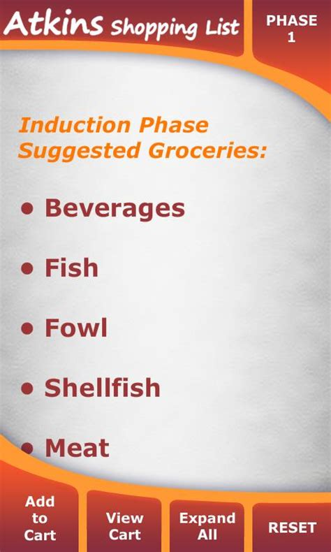 induction phase results atkins diet shopping list android apps on play
