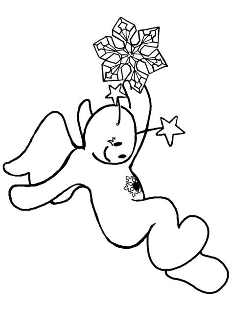 snow angel 9 black and white christmas coloring and craft